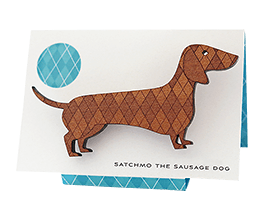 Sausage Dog brooch in Tasmanian Myrtle wood with a delicate laser-engraved argyle pattern. (thumbnail image)