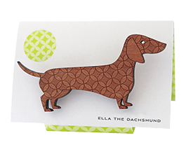Doxie brooch in Tasmanian Myrtle wood with a delicate laser-engraved retro circle pattern.