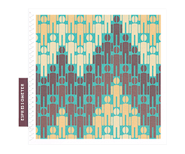 Unusual greeting card for coffee lovers: men with coffee-bean heads in a pattern resembling the accelerated heart rate on an ECG machine in turquoise and coffee colours