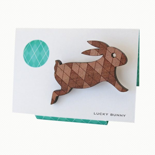 Cute rabbit brooch in Tasmanian Myrtle wood with a delicately laser-engraved retro argyle pattern.