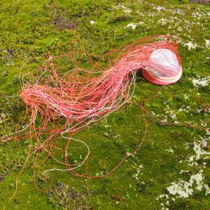 Pink, red, orange and white wire basket in progress, against bright green alpine vegetation on Mt Eliza, Tasmania
