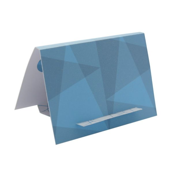 The brooch gift box can be folded out into an easel card with a matching powdery blue pattern.