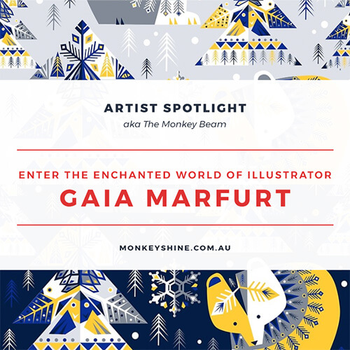 Artist Spotlight. Enter the enchanted world of Illustrator Gaia Marfurt. Background image is her Geometric Winter pattern.